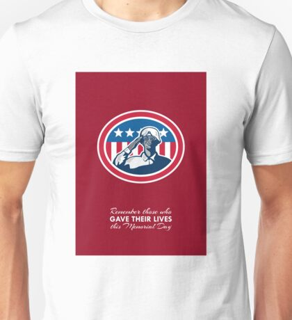 Memorial Day Greeting Card African American Soldier Salute Flag Unisex T-Shirt