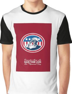 Memorial Day Greeting Card African American Soldier Salute Flag Graphic T-Shirt