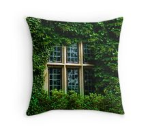 Ivy Engulfs the Manor As Ghostly Images Peak Out  Throw Pillow