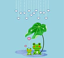 Cute Love Heart Rain & Frogs - Love Just Happens by scottorz
