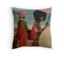 Black beauties on the Beach Throw Pillow