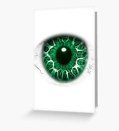 FREAKY GREEN EYE T-SHIRT DESIGN, The Incredible Hulks Eye, Bruce Banner Transforms Into The Incredible Hulk Greeting Card