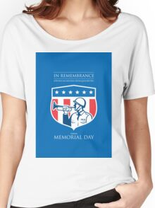 Memorial Day Greeting Card Soldier Blowing Bugle Flag Shield Women's Relaxed Fit T-Shirt