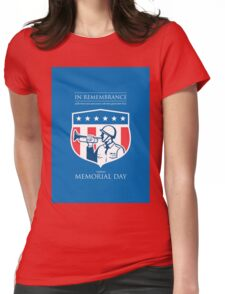 Memorial Day Greeting Card Soldier Blowing Bugle Flag Shield Womens Fitted T-Shirt