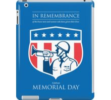 Memorial Day Greeting Card Soldier Blowing Bugle Flag Shield iPad Case/Skin