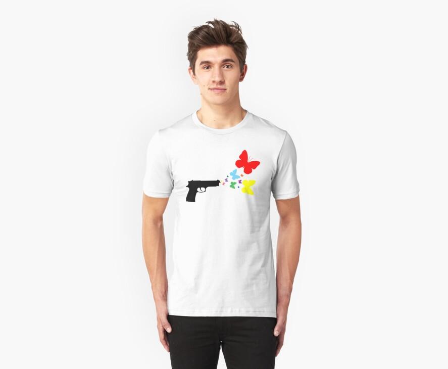 Butterfly Gun Color T Shirt by Fangpunk