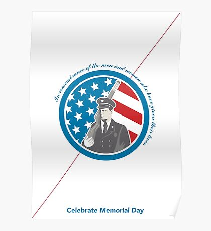 Memorial Day Greeting Card Soldier Military Serviceman Holding Rifle Poster