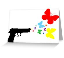 Butterfly Gun Color T Shirt Greeting Card