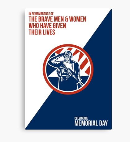 Memorial Day Greeting Card American Soldier Salute Holding Rifle Canvas Print