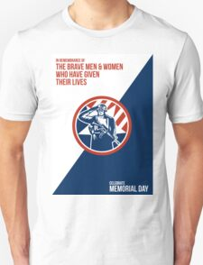 Memorial Day Greeting Card American Soldier Salute Holding Rifle Unisex T-Shirt