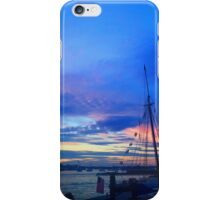 Sunset on the Boston harbor with a ship iPhone Case/Skin