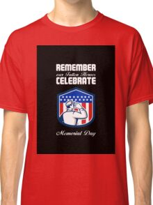 Memorial Day Greeting Card American Soldier Saluting Flag Classic T-Shirt