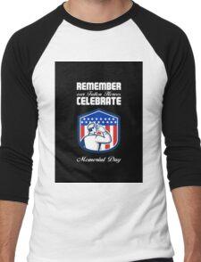 Memorial Day Greeting Card American Soldier Saluting Flag Men's Baseball ¾ T-Shirt