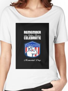 Memorial Day Greeting Card American Soldier Saluting Flag Women's Relaxed Fit T-Shirt