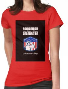 Memorial Day Greeting Card American Soldier Saluting Flag Womens Fitted T-Shirt
