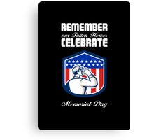 Memorial Day Greeting Card American Soldier Saluting Flag Canvas Print