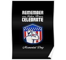Memorial Day Greeting Card American Soldier Saluting Flag Poster