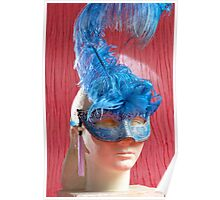 Woman sculpture with blue venetian mask Poster