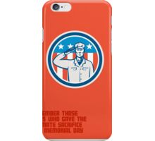 Memorial Day Greeting Card American Soldier Salute Circle iPhone Case/Skin