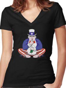 Uncle Sam Shush Women's Fitted V-Neck T-Shirt