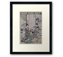 Four women composing poetry possibly as a competition next to a screen with painting of cranes 001 Framed Print