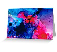Hot Pink Heaven - Blue And Pink Painting Greeting Card