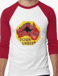 Australia Land Down Under Kangaroo Retro Luggage Sticker Men's Baseball ¾ T-Shirt
