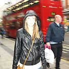 Woman with bus in background by PMJCards