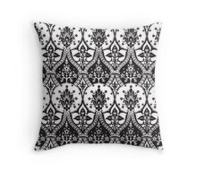 Black and White Ornate Pattern Throw Pillow