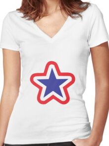 Star Women's Fitted V-Neck T-Shirt