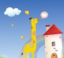 Cute Love Giraffe Butterfly Rainbow Castle & Cloud by scottorz