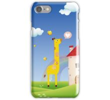Cute Love Giraffe Butterfly Rainbow Castle & Cloud iPhone Case/Skin