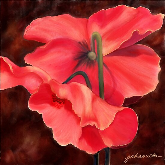 Red Poppy Three for Sue by Joan A Hamilton