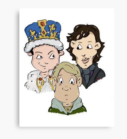 Sherlock Character Moriarty John Watson and Sherock Cartoon Canvas Print