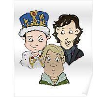 Sherlock Character Moriarty John Watson and Sherock Cartoon Poster