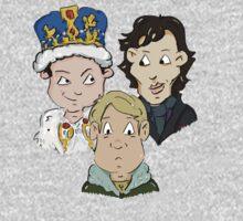 Sherlock Character Moriarty John Watson and Sherock Cartoon Baby Tee