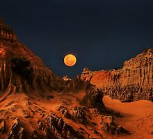 Full moon over The walls of China by Robyn Lakeman