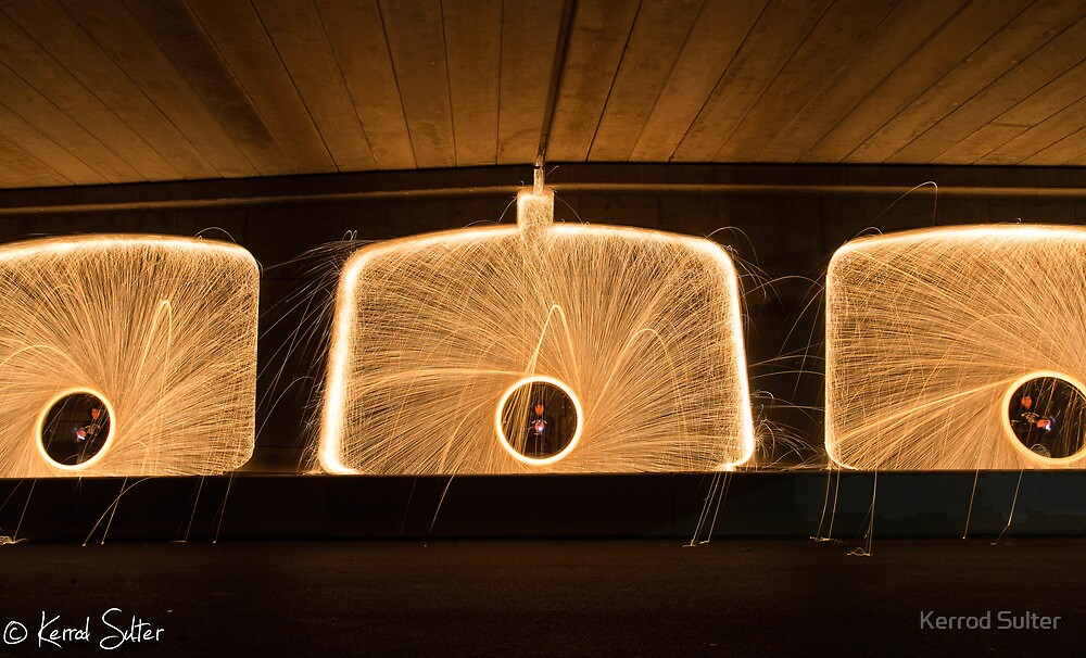 Spinning Steel Wool at Bombo Underpass, Kiama #2 by Kerrod Sulter