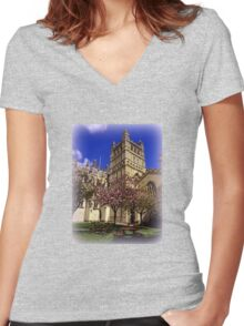 Tranquil Cafe Women's Fitted V-Neck T-Shirt