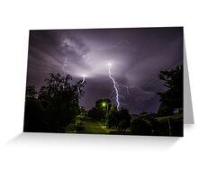 Lightning over suburbia  Greeting Card