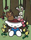 Teddy Bear and Bunny - Goodbye Kitty by Brett Gilbert