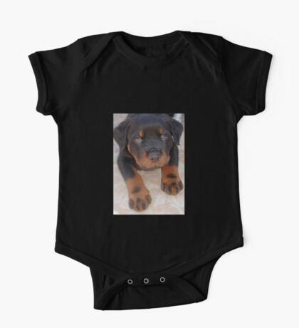 Young Male Rottweiler Making Eye Contact One Piece - Short Sleeve