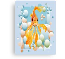 Blowing Bubbles With A Cute Fantail Goldfish Canvas Print
