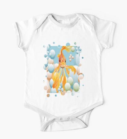Blowing Bubbles With A Cute Fantail Goldfish One Piece - Short Sleeve