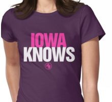 Discreetly Greek - IOWA Knows- Nike Parody Womens Fitted T-Shirt