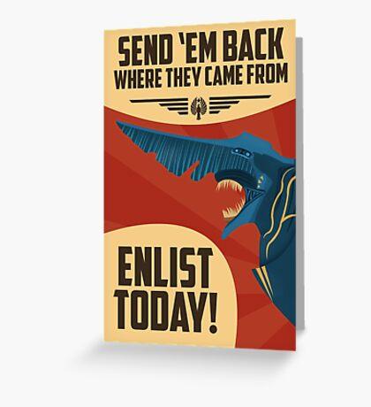 Knifehead Kaiju Propaganda Poster (Pacific Rim) Greeting Card