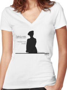 A Simpler World Women's Fitted V-Neck T-Shirt