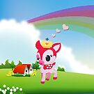 Cute Love Deer Fawn with Rainbow Country Scene by scottorz