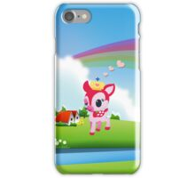 Cute Love Deer Fawn with Rainbow Country Scene iPhone Case/Skin