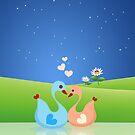 Cute Swan Couple Full of Love Heart by scottorz